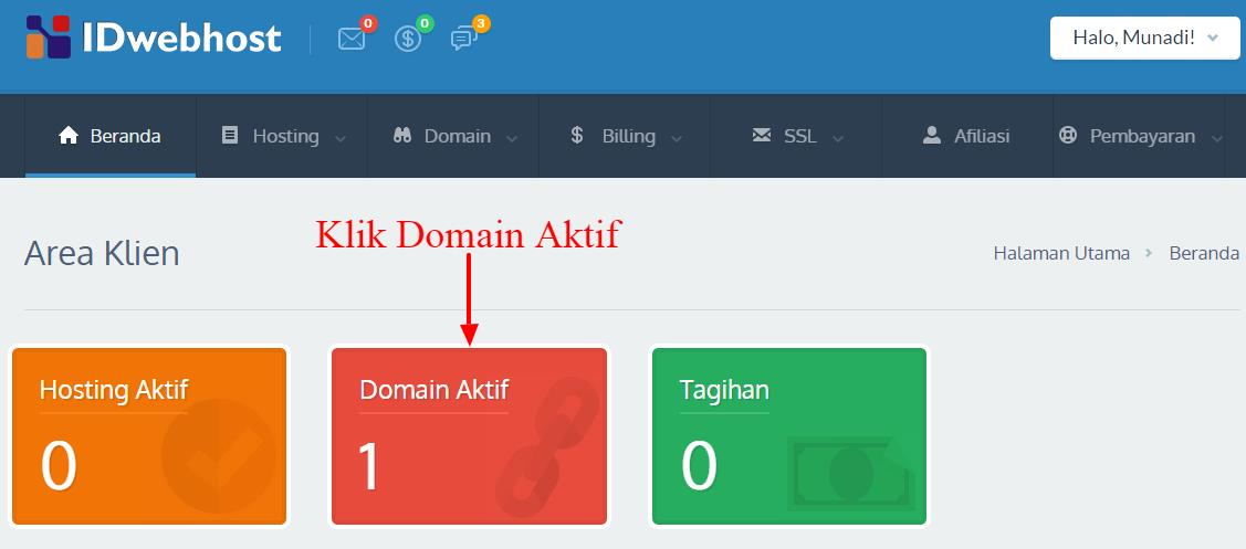 Klik Domain Aktif