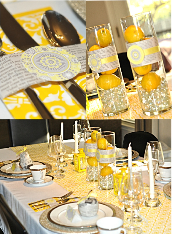 Yellow and Grey Spring Brunch Ideas - via BirdsParty.com