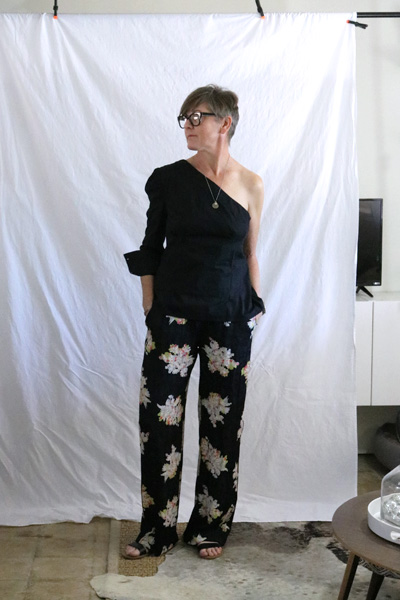 one shoulder blouse floral silk pants