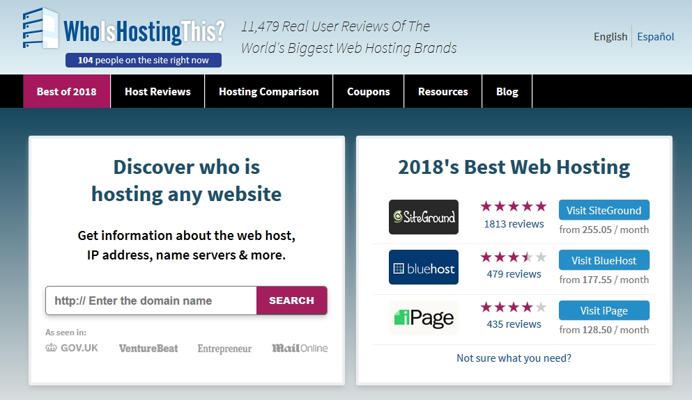 Check any Website hosting details