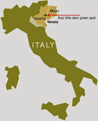 That little dark green spot - Prosecco area
