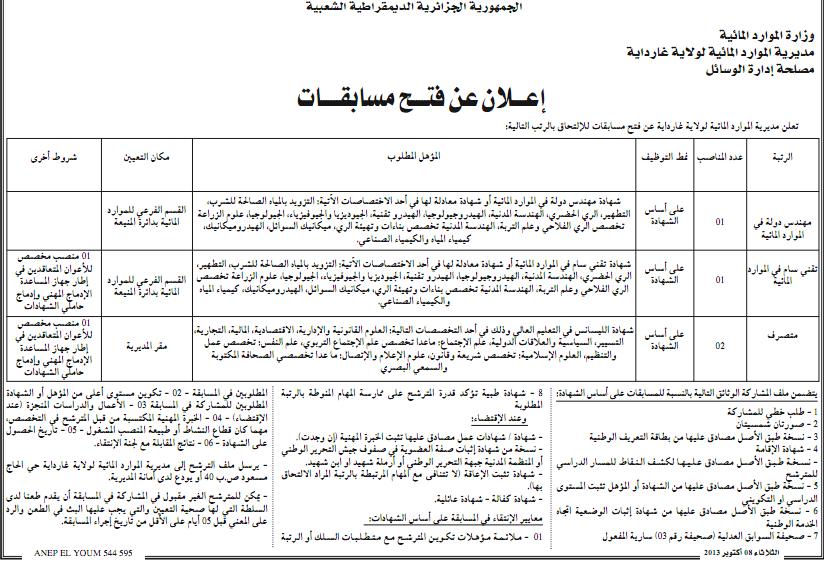 التوظيف في الجزائر : مسابقات توظيف في مديرية الموارد المائية لولاية غرداية أكتوبر 2013