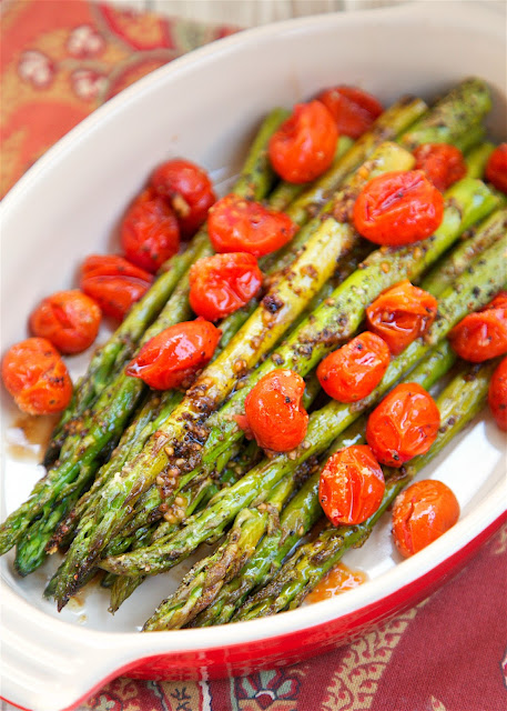 Roasted Asparagus and Tomatoes - takes one minute to toss together and ...