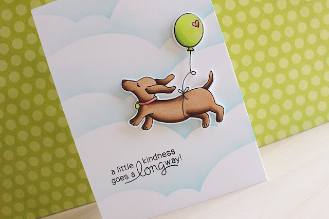 A Little Kindness Card by Newton's Nook March Guest Designer Eloise Blue | Delightful Doxies Stamp set by Newton's Nook Designs #newtonsnook