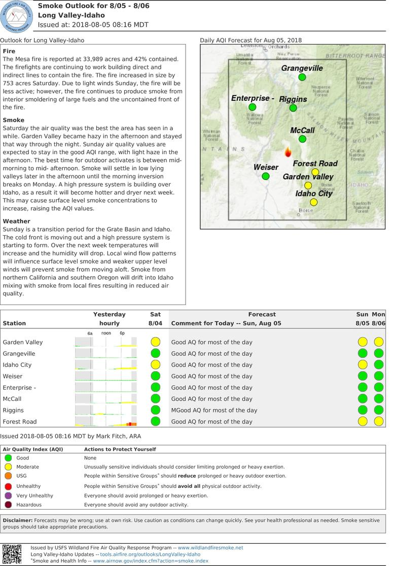 Sunday And Monday Smoke Outlook For Long Valley Idaho (Includes Enterprise)
