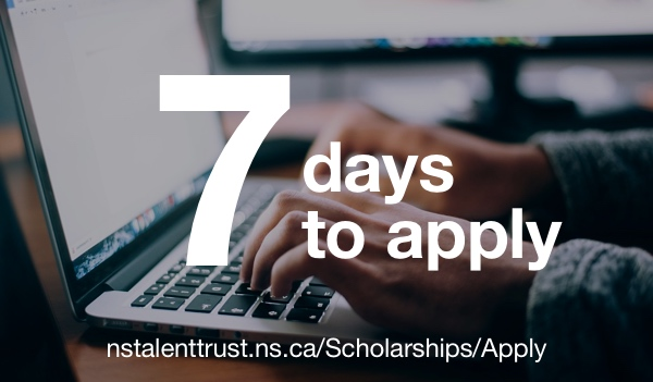 7 days to apply for a Talent Trust scholarship