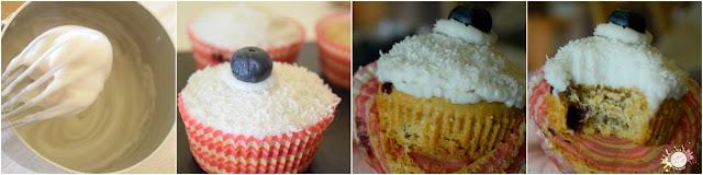 Cupcakes veganos de arándanos con frosting de coco