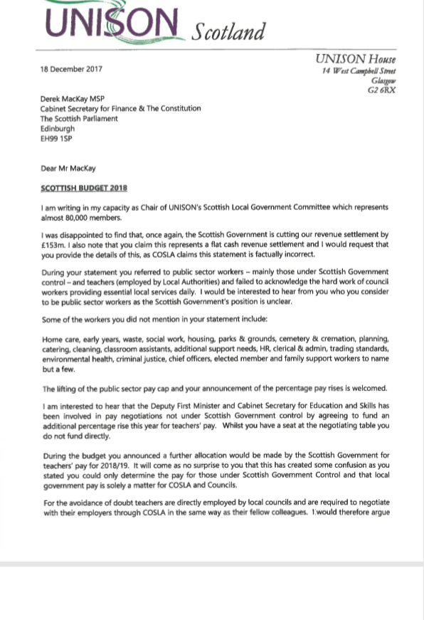Angus Unison A Letter From Our Local Government Chair