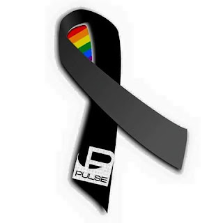 Black ribbon with rainbow for Pulse Orlando
