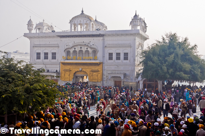 On first day of the year (1st Jan), whole campus of Golden Temple was full and there was a huge queue for main temple inside the lake. Here is a Photograph showing thousands of people inside Golden Temple Campus at Amritsar, Punjab, India.