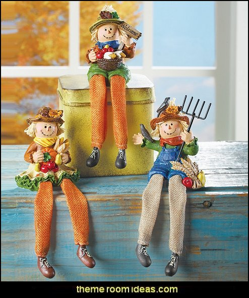 Autumn Scarecrow Shelf Sitters, Set of 3, With Hand-Painted Details