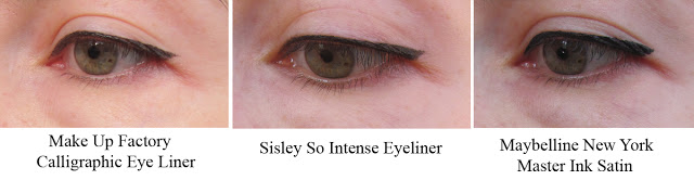 Свотчи Make Up Factory Calligraphic Eye Liner, Sisley So Intense Eyeliner, Maybelline New York Master Ink Satin