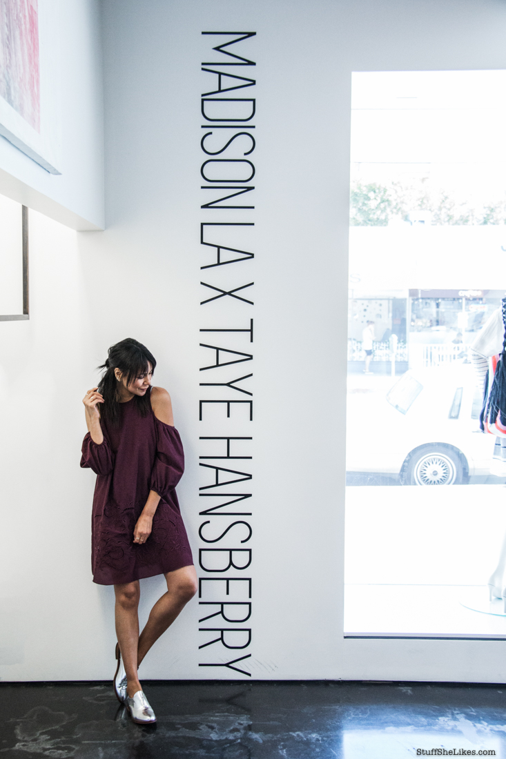 pop up shop, Taye Hansberry, tibi, aquazzara fringe heels, cold shoulder dress, fashion blogger collaborations, fashion blogger, top fashion blogger, best fashion blogger, LA fashion bloggers, bangs, haircut, best shopping in LA, chloe shoes