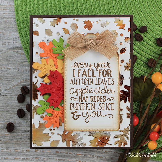 Pumpkin Spice Coffee Card with Foiled Leaves Background by Juliana Michaels
