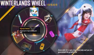 Free Fire Winterlands kini mengadakan event terbarunya Wheel Snowman. Event ini bisa di ikuti dengan hanya spin dan mendapatkan hadiah. Berikut penjelasan lengkap Event Free Fire Winterlands terbaru Wheel Snowman.
