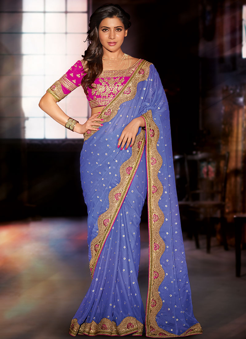 Samantha Fashion Photos In Blue Saree Looking Hot