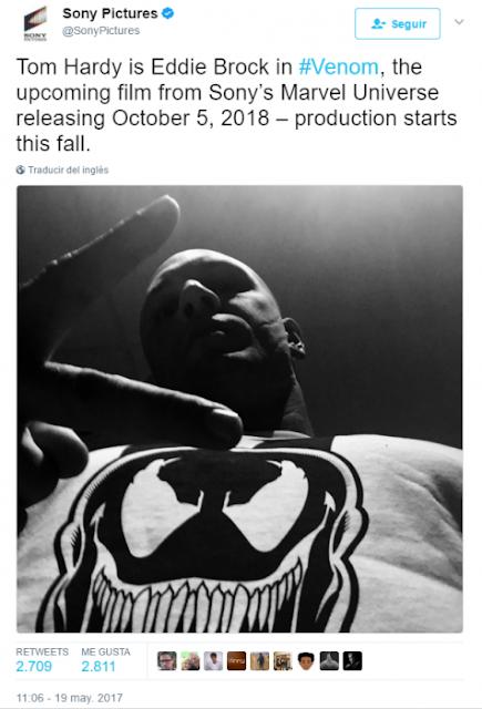 Filmarán Venom, Tom Hardy será el intérprete