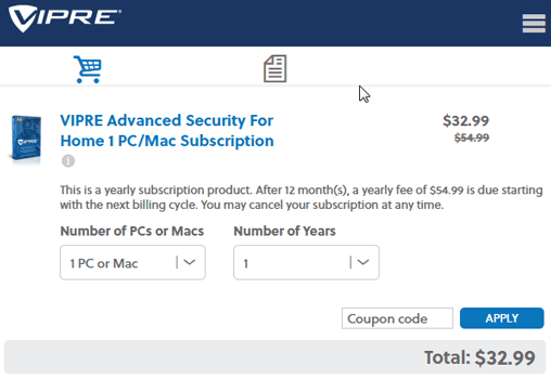 VIPRE Advanced Security Discount Coupon