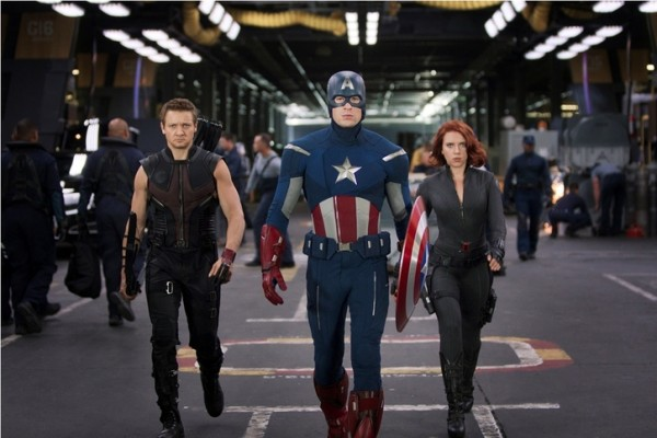Renner, Johansson and Evans in character as The Avengers 2012 movieloversreviews.filminspector.com