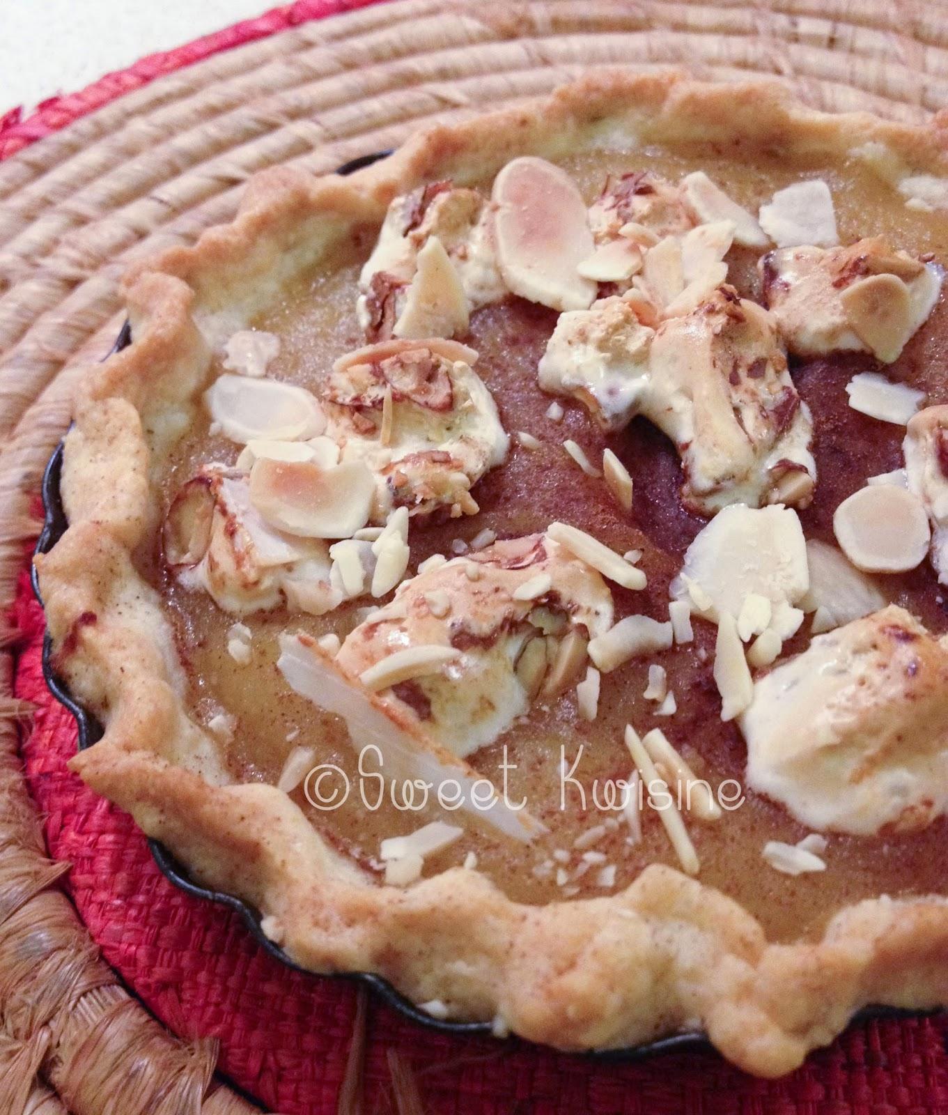sweet kwisine, tarte, pommes, compote, sans sucre, nougat, turron, amandes, miel, Montélimar, pâte sablée