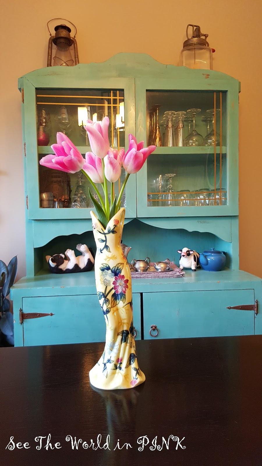 flowers vintage dress vase