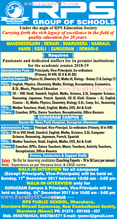 R.P.S group of schools Wanted Teaching Faculty - Faculty Plus Teachers