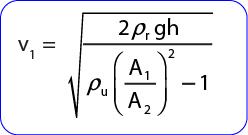rumus kecepatan aliran udara pada venturimeter