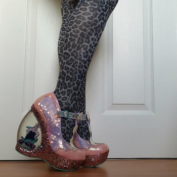 iridescent sequins shoes with large platform and waterglobe heel with Ursula sea witch figure inside