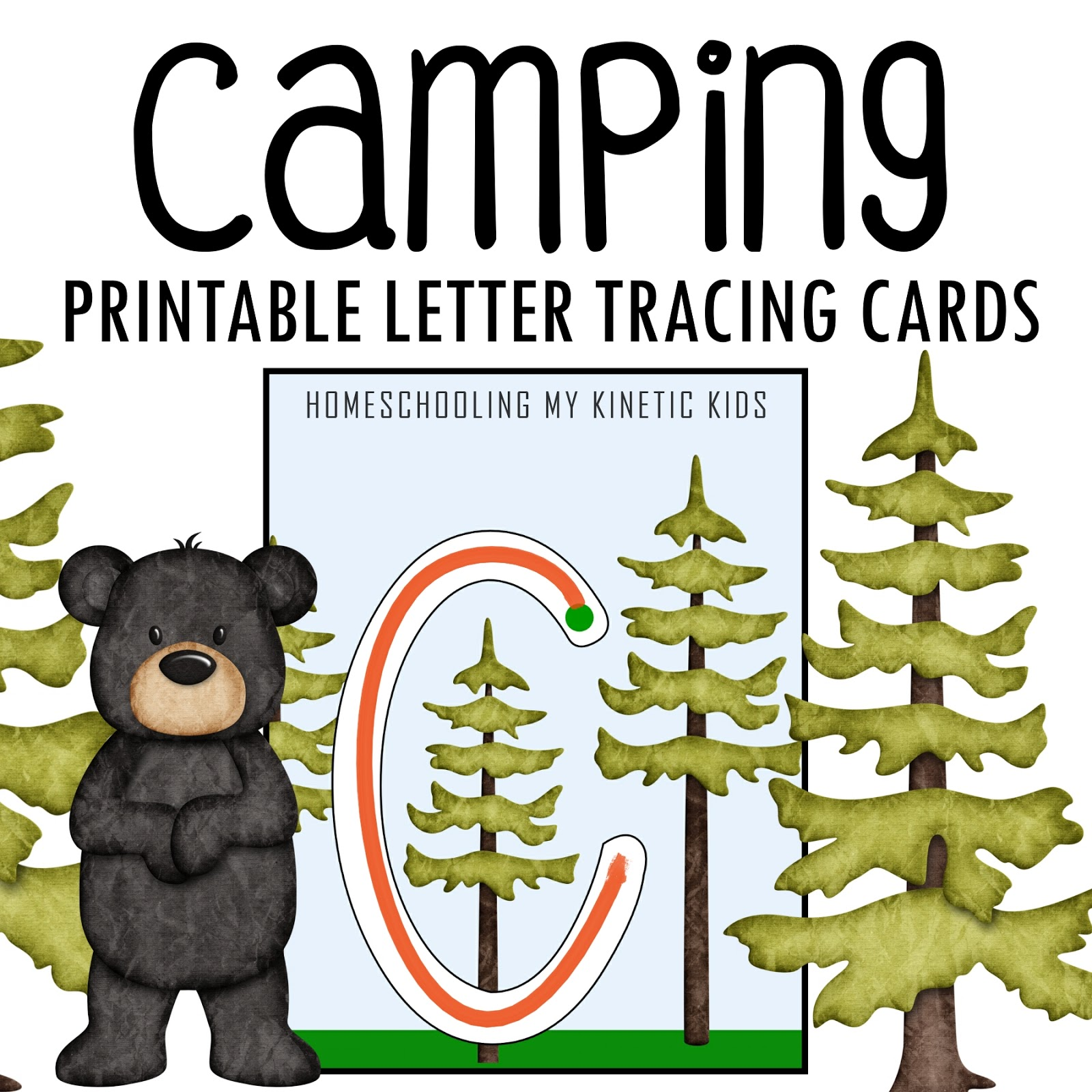 Camping Themed Letter Tracing Cards