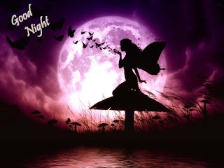 Good Night wallpaper with angel in full moon