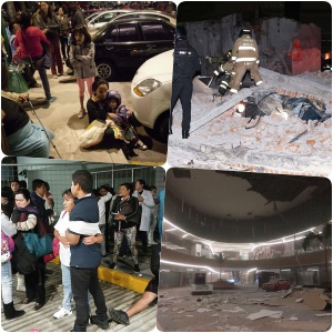 Earthquake of Mexico records 8.4 -- buildings topple -- 2 deaths already reported!]