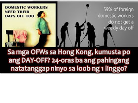 """For household workers, when we say """"Rest Day"""" it should really mean a 24 hour day of rest or """"Day Off"""" when you are entitled to have a time for yourself free from doing work that you are being paid.  Vice Consul Alex Vallespin in Hong Kong have reminded domestic helpers or household workers to remind their employees that are entitled and it is mandatory to have a 24-hour rest day for every period of seven days of work."""