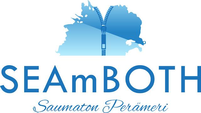 Seamboth logo, jossa ylhäällä Perämeren karttakuva, jonka keskellä vetoketju. Alla tekstit seamboth ja Saumaton Perämeri.