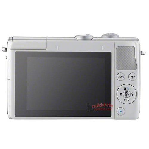 Canon EOS M100, серебристый, вид сзади