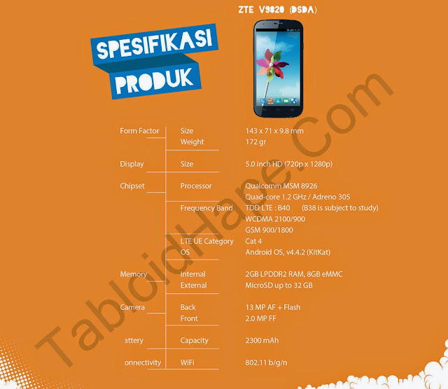 Spesifikasi Bolt 4G Powerphone ZTE V9820 Terbaru