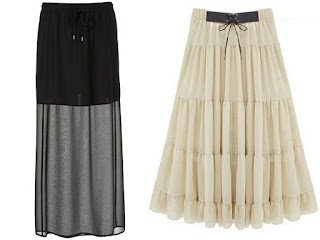 Skirt is a woman's outer garment. A piece of cloth fastened /worn around the waist that hangs from the waist down around covering the legs