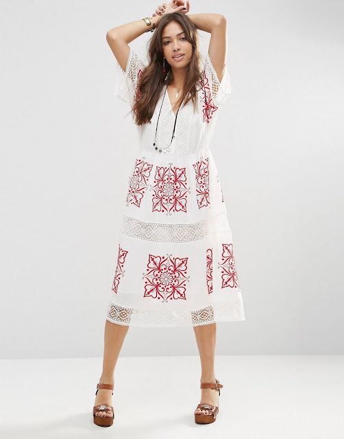 white dress red embroidered, white cutout embroidered dress,