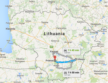 Kelionė iš Vilniaus į Prienus