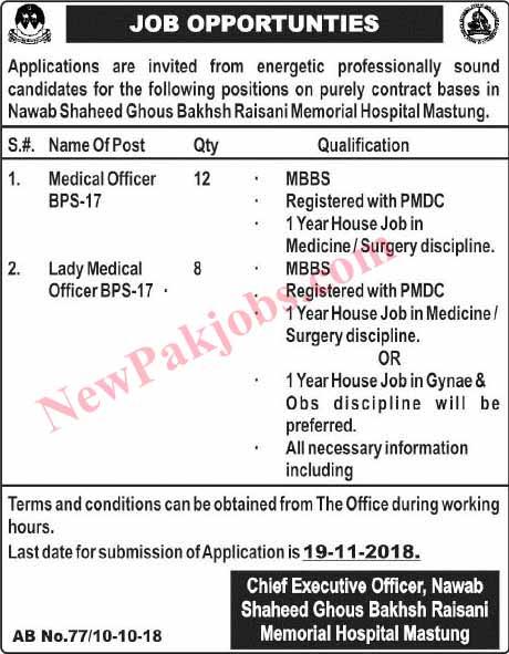 Medical Officer, Lady Medical Officer Jobs in Memorial Hospital
