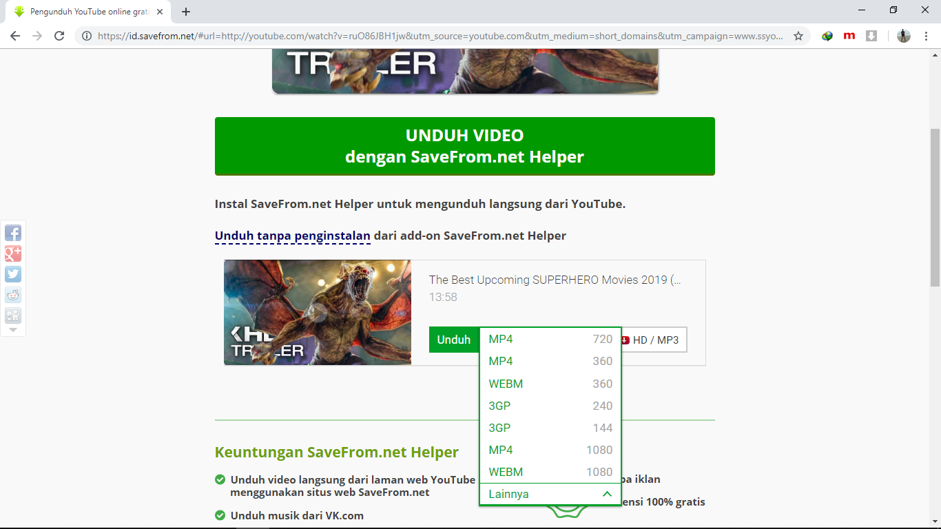 cara download video youtube kualitas hd tanpa software