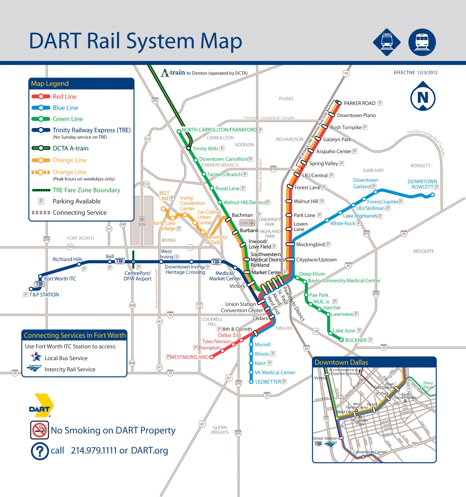 dart rail system map showing existing rail lines