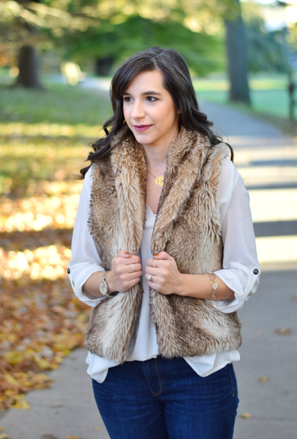 Fall Fashion Brown Faux Fur Vest