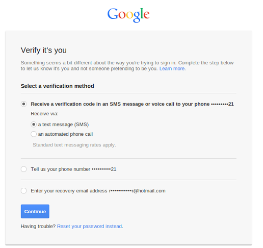 Android Verification Code for Google Accounts
