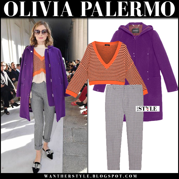 Olivia Palermo in purple wool coat, orange crop sweater and grey cropped pants max and co at Milan Fashion Week front row fall fashion inspiration