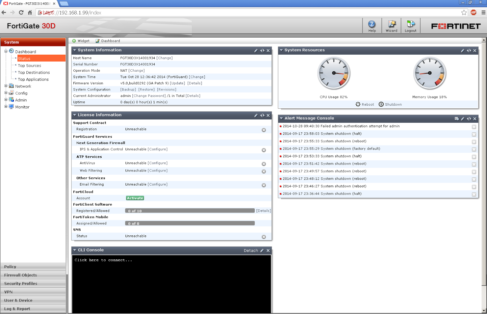 Fortinet Firewall Fortigate-30D Basic Configuration and NAT Set up