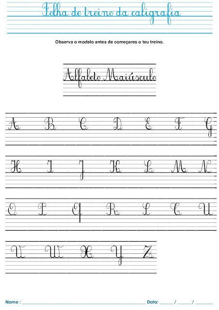 Folha de Caligrafia Com Alfabeto