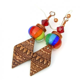 rainbow lampwork and copper jewelry for women
