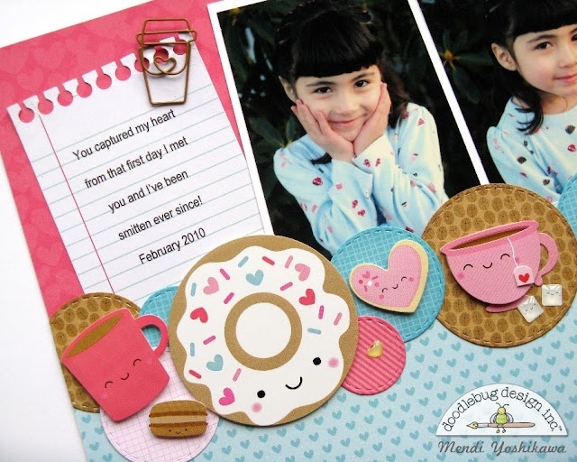 Doodlebug Design Cream & Sugar Valentine's Day Scrapbook Layout by Mendi Yoshikawa.