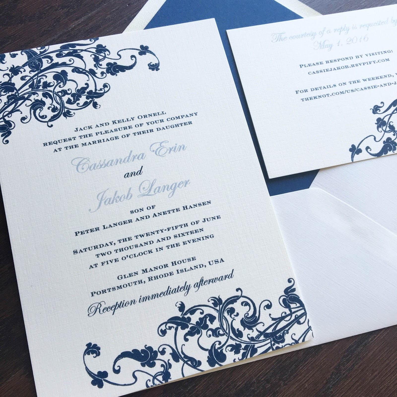 blush paperie whimsical scroll wedding invitation in navy and powder