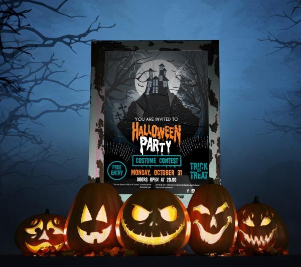 Halloween creative poster design source file free psd template